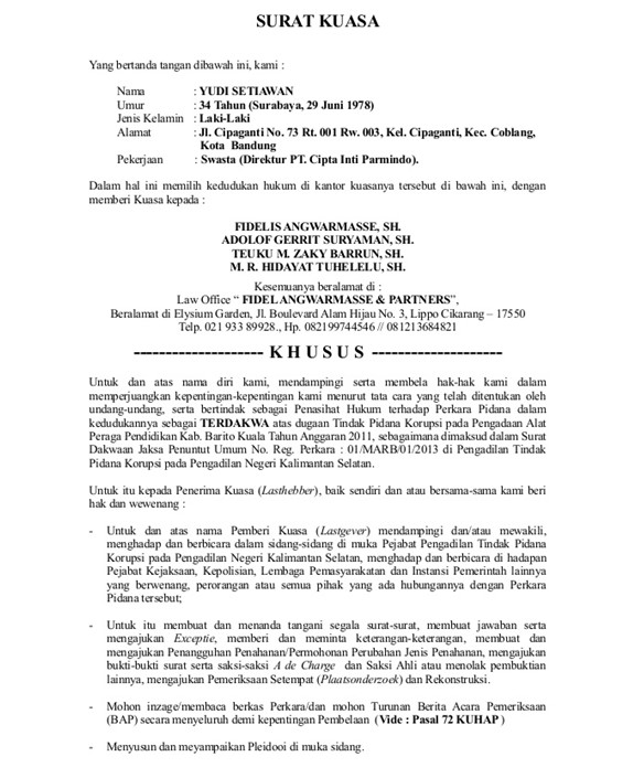 12+ Contoh Surat Kuasa Pengambilan, Umum, Khusus Beserta ...