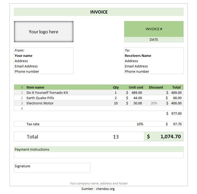 contoh invoice excel tagihan yang baik dan benar
