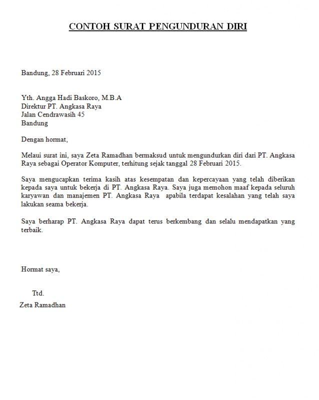Contoh Surat Pengunduran Diri Resign Simple