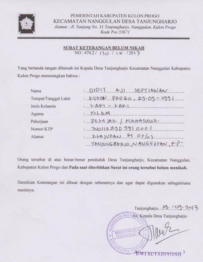 Contoh Surat Keterangan Belum Menikah dari kepala desa