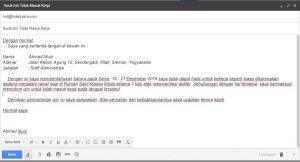 Contoh surat izin tidak masuk kerja di hotel via email